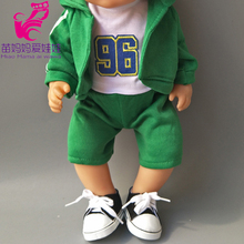4 in 1 a set Green Hooded Coat outwear short pants shirt fit for 43cm  Baby Dolls boy Clothes for 18 inch doll suit недорого