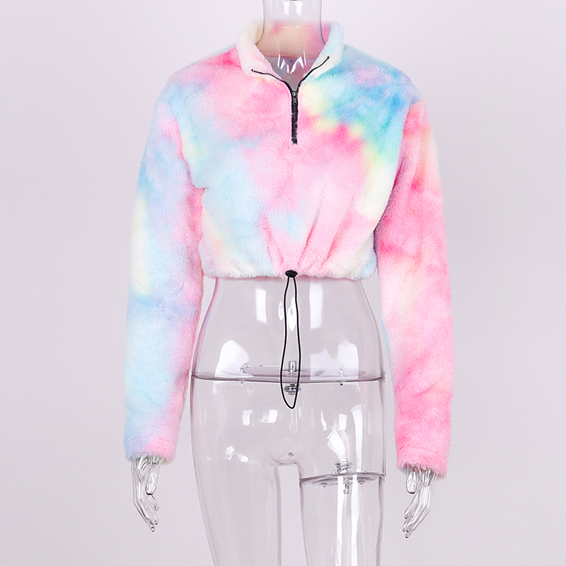 H2bdd2e0bfe0b4d0fb433209ee0c51941c Hugcitar long sleeve zipper high neck Faux lambswool crop tops 2018 autumn winter women fashion solid coat jacket