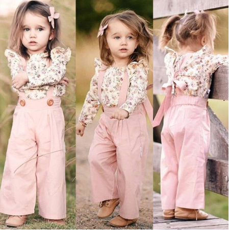 2PCS Toddler Kids Baby Girl Winter Clothes Floral Tops+Pants Overall Outfits Sweet Girl Clothes Set