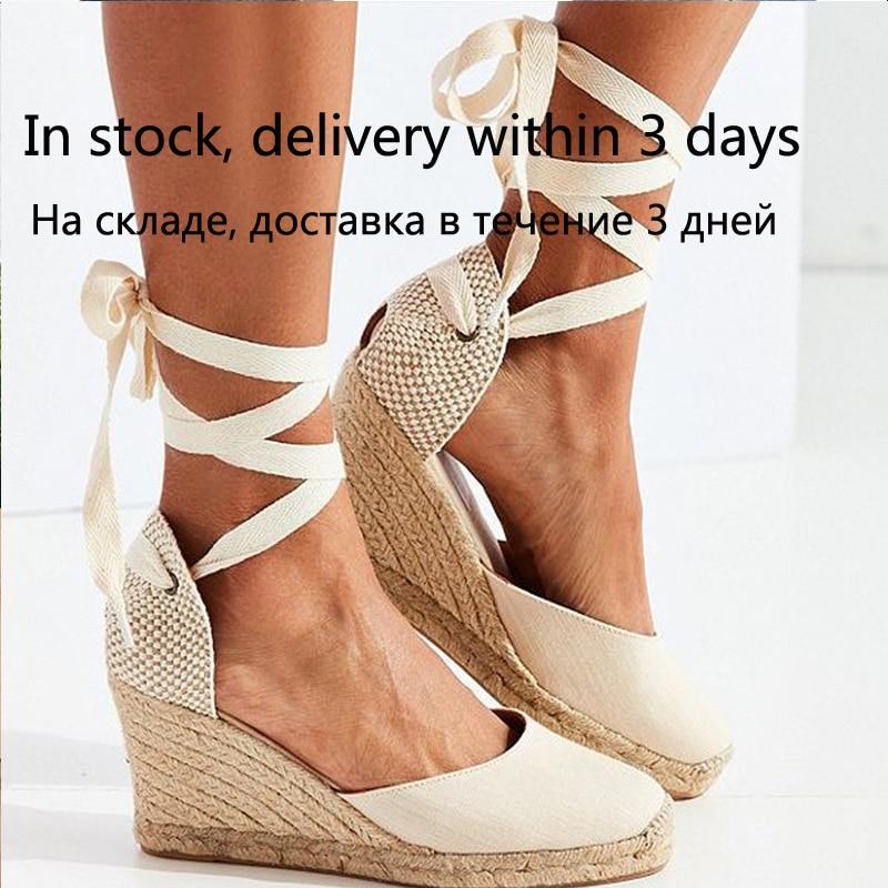 Женские эспадрильи; Сандалии с ремешками на лодыжках; Удобные шлепанцы; Женская повседневная обувь; Дышащие льняные парусиновые туфли лодочки|Боссоножки и сандалии|   | АлиЭкспресс