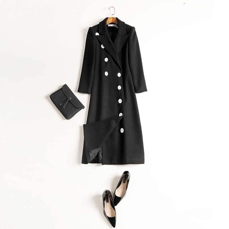 Double Breasted Campuran Wol Wanita Elegan Kualitas Tinggi Hitam Solid Suit Kerah Wol Panjang Mantel Kasual Menebal Jaket