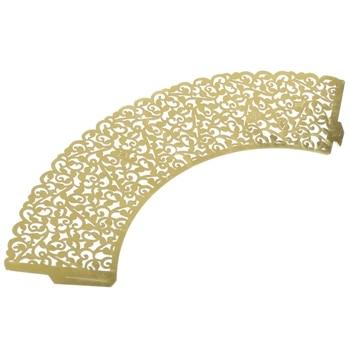 New Vine Cupcake Holders Filigree Vine Designed Decor Wrapper Wraps Cupcake Muffin Paper Holders - 50pcs (Bright Gold)