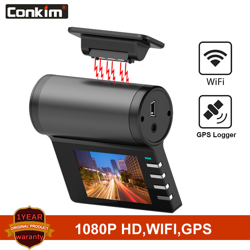 Conkim New G200 <font><b>Car</b></font> <font><b>DVR</b></font> <font><b>Wifi</b></font> <font><b>Cameras</b></font> 1080P Full HD GPS Logger Parking Monitor 170 Degree Wide Angle Dash Cam Magnetic Holder image