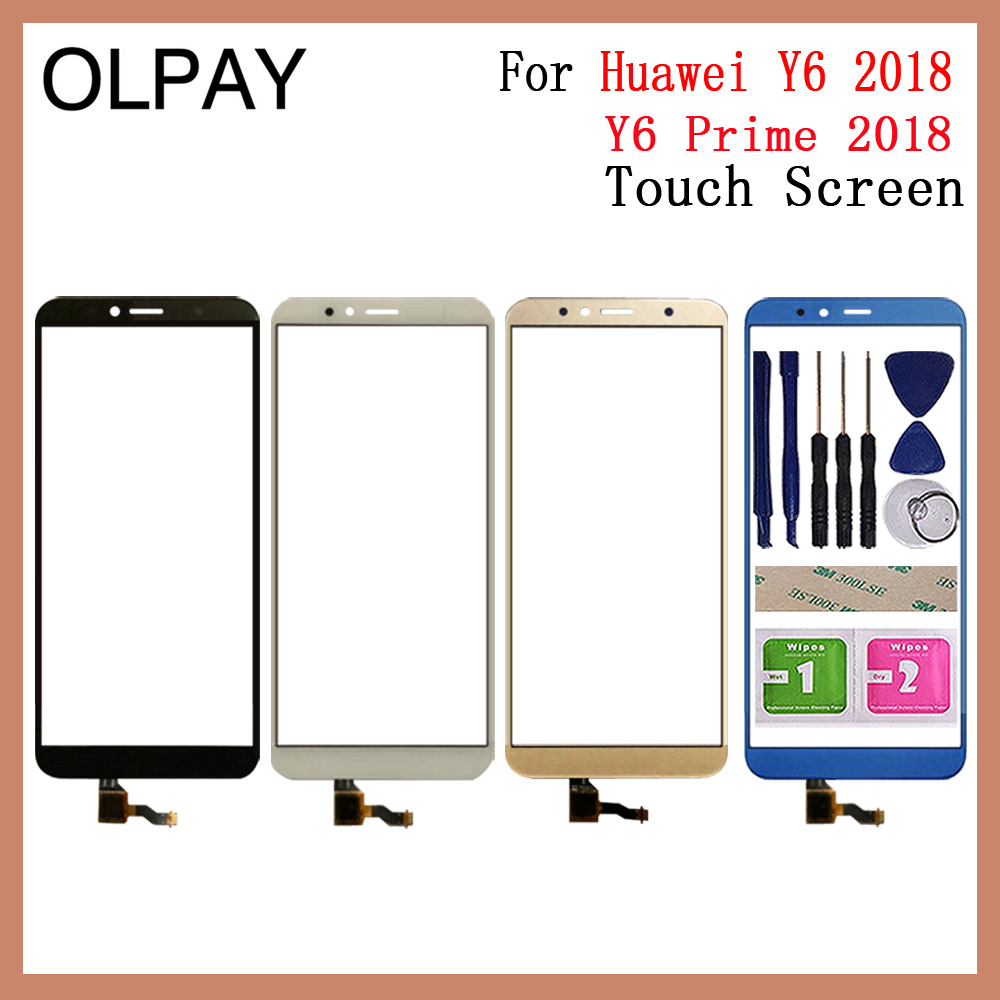 OLPAY 5.7 Inch For Huawei Y6 2018 / Y6 Prime 2018 Touch Screen Digitizer Panel Front Glass Lens Sensor Free Adhesive+Wipes