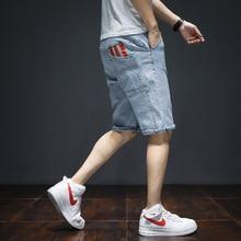 Summer Fashion Casual Men Jeans Shorts Blue Color Large Size M-7XL Printed Pocket Designer Short Hip Hop Denim