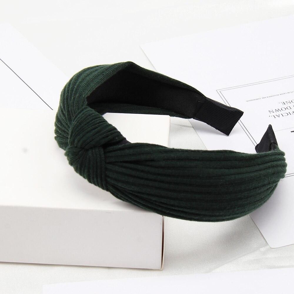 Couleur unie noeud bandeaux pour femmes Simple tissu filles bandeau femmes cheveux accessoires large côté bandeau 34