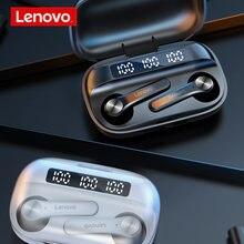Lenovo qt81 tws fone de ouvido bluetooth 1200mah caso carregamento de energia móvel sem fio fone esporte earbud cancelamento ruído com microfone