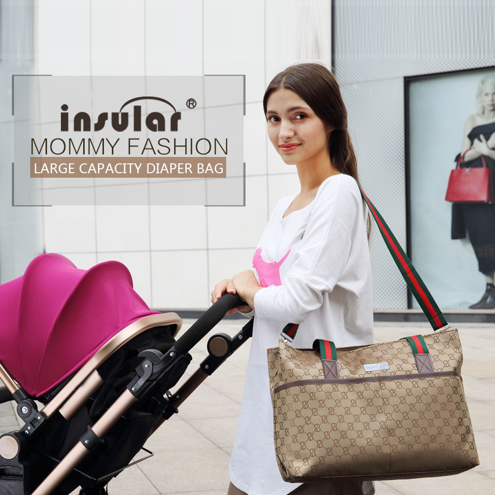 Insular Maternity Bag For Stroller Mummy Diaper Bag Waterproof Baby Stroller Bag Baby Care Messenger Large Capacity Nursing Bags (As picture)