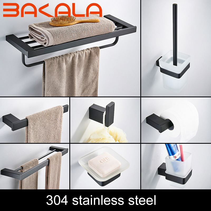 Bath Hardware Set Stainless Steel Towel Shelf Roll Paper Holder Wall Mounted Toothbrush Holder Toilet Brush Holder Black Color image