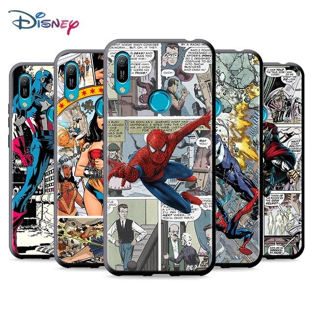 Black Soft Marvel Comic For Huawei P Smart 2021 2020 Z S Mate 40 RS 30 20 20X 10 Pro Plus Lite 2019 Phone Case