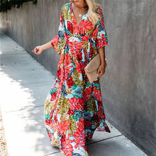 Bohemian Dicetak Kaftan Wanita Beachwear Kapas Tunik Beach Cover Up Saida De Praia Baju Renang Bikini Cover-Up Pareo Sarung # Q944(China)