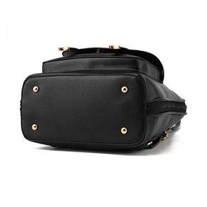 Image 4 - Preppy Style Women Backpack Bear Toys PU Leather Schoolbags for Teenage Girls Female Rucksack Shoulder Bag Travel Knapsack