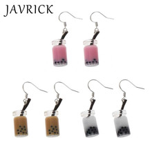 Funny Milk Tea Drink Dangle Earrings Bubble Simulated Food Women Jewelry