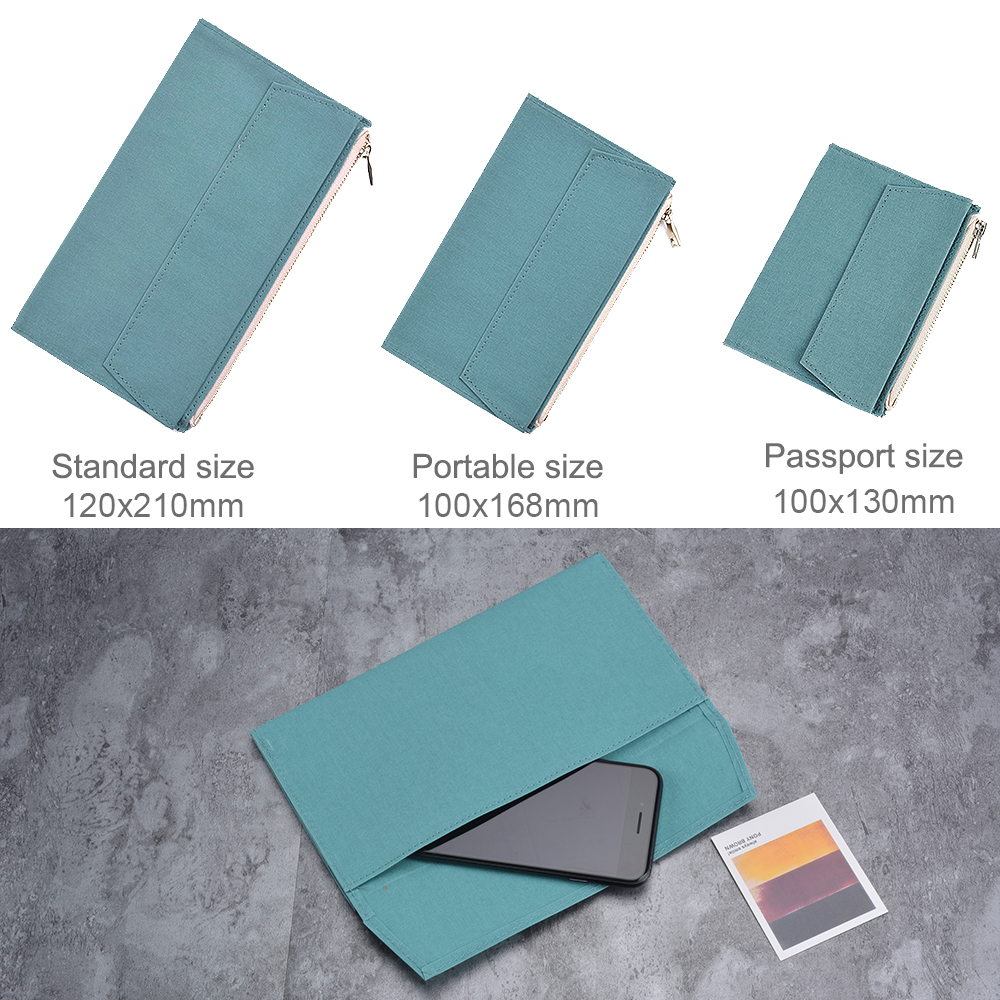 Image 2 - 50 Pieces / Lot Standard Regular Size 210x120 mm Canvas Zipper Pocket For Notebook Accessory Olive Green Card Holder Storage BagFile Folder   -