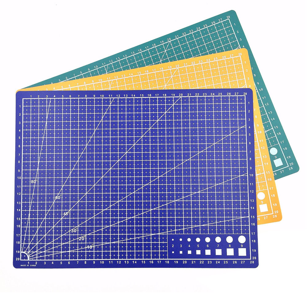 30*22cm A4 Cutting Mat Grid Lines Self Healing Cutting Mat High Quality Craft Card Fabric Leather Paper Board Blue Green