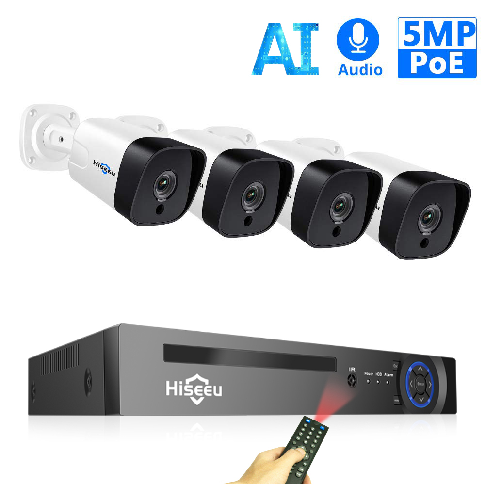 Hiseeu 8CH 5MP POE NVR Kit H.265 Security Camera System Audio Record AI IP Camera Outdoor Waterproof P2P Video Surveillance Set