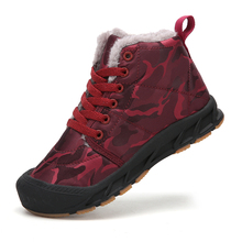 SKHEK Kids Shoes Martin Boots Children Snow Motorcycle Autumn and Winter of Leather Waterproof Sneakers