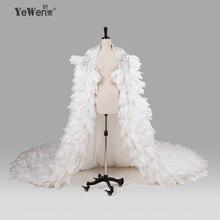 Ivory Wedding Wraps elegancki frezowanie Crystal Wedding Bolero Feather kurtka ślubna 2020 akcesoria ślubne Vestido De Noiva 8014