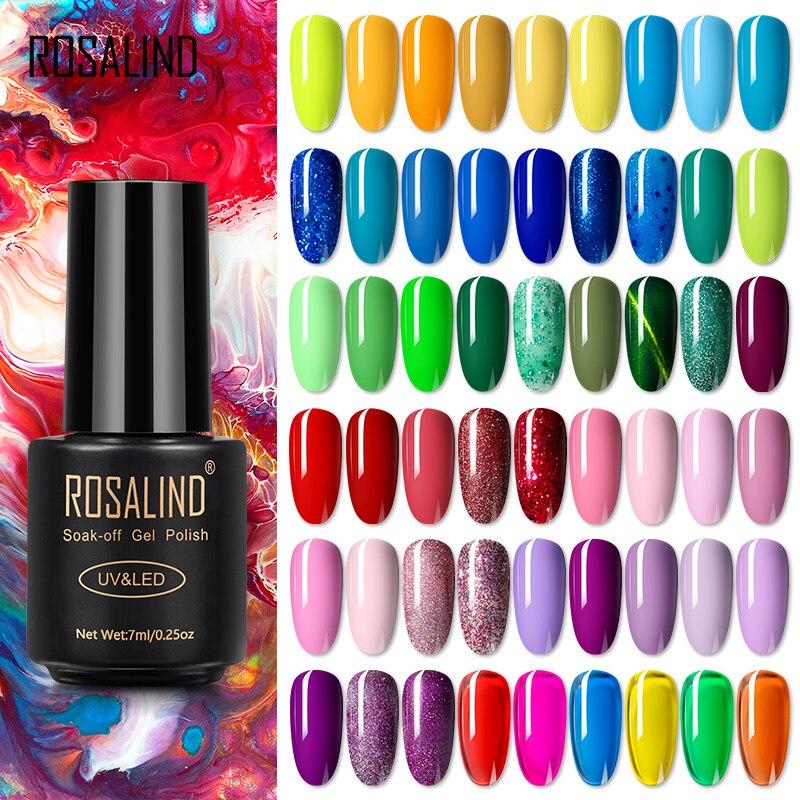 Гель-лак для ногтей ROSALIND, гибридные лаки для дизайна ногтей, все для маникюра, Полупостоянный лак, Гель-лак для ногтей с ультрафиолетосветод...