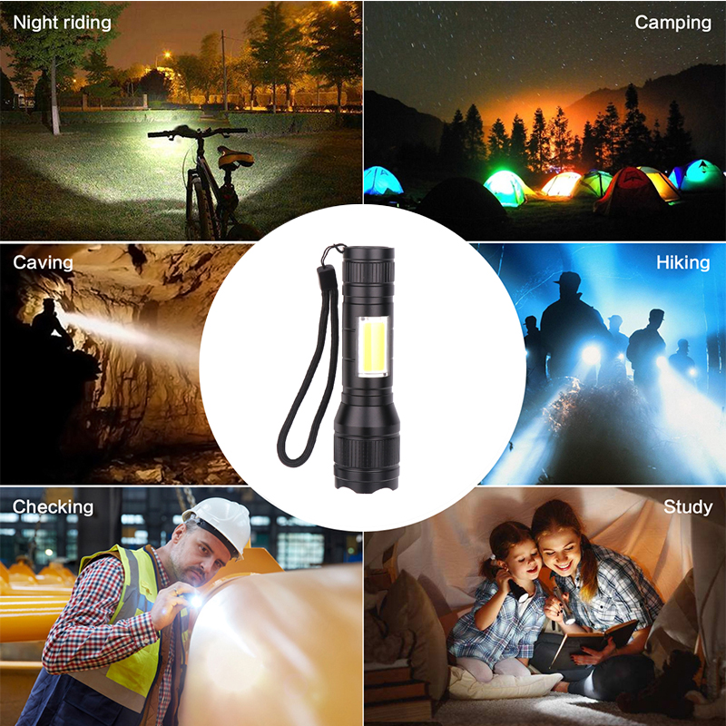 Купить с кэшбэком MINI USB Rechargeable LED Flashlight T6 LED + COB 3 lighting modes Torch Support zoom Side COB lamp Suitable for camping,etc.