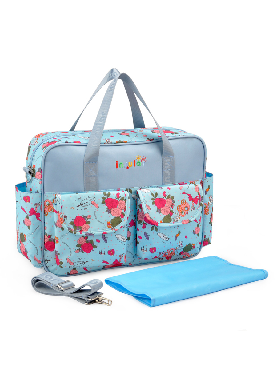 Floral Baby Diaper Tote Bags Large Capacity Waterproof Mummy Maternity Hanging Stroller Nappy Messenger Shoulder Nursing Bag