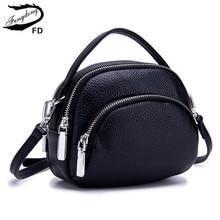 Crossbody-Bags Phone-Bag Leather Handbag Round Small Genuine-Leather Fashion Women Fengdong