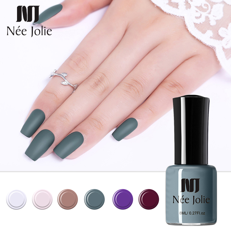 NEE JOLIE 8ML UV Gel Nail Polish Holographic Glitter Gray Coffee Series Soak Off Nail Art Gel Polish Varnish Manicure Design