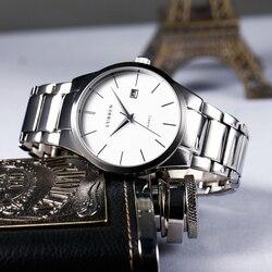 CURREN 8106 luksusowej marki wyświetlacz data męska kwarcowy analogowy zegarek sportowy zegarek biznesowy mężczyźni oglądać relogio masculino w Zegarki kwarcowe od Zegarki na