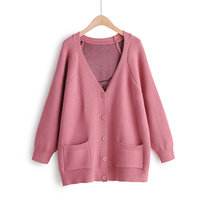 Autumn new women's European and American style V neck long sleeved loose back small elephant cardigan sweater women's