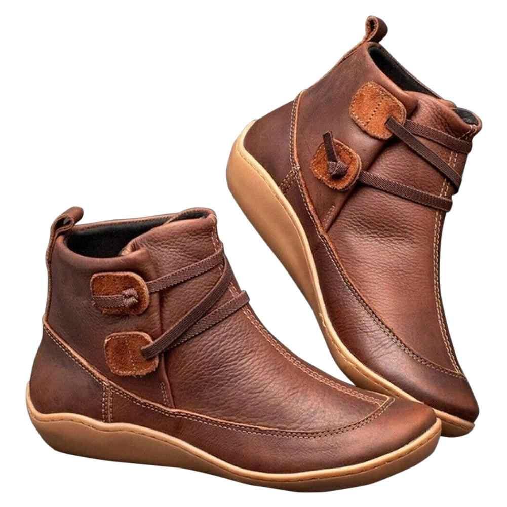 Yarım çizmeler kadın PU deri Vintage bayanlar düz çapraz kayış kadın platform ayakkabılar kadın rahat kadın kısa çizmeler 2019