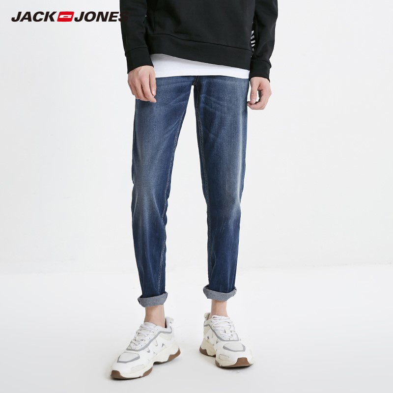 JackJones Men's Casual Ankle-length Slim Fit Tight-leg Crop Jeans Basic| 219132555