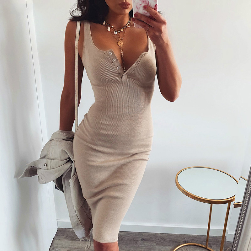 Autumn Sleeveless Bodycon Knitted Dresses Solid Stretch Buttons Sexy Casual Women Dress Fit Sheath Pack Hip Dress Ribbed GV090-B