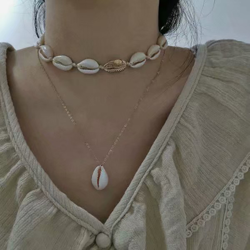 Boho Double Layer Pendant Shell Necklace For Women Natural Shell Choker Chain Necklace Collar 2019 Female Summer Beach Jewelry