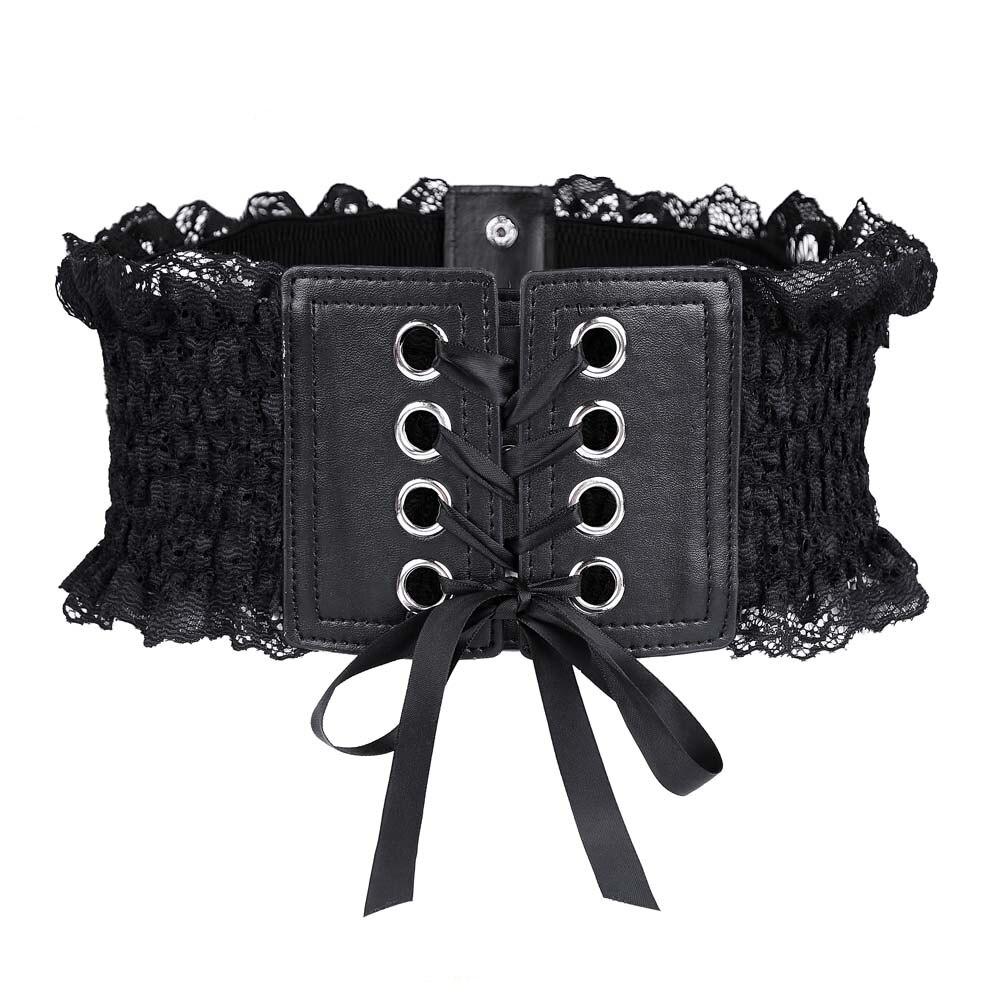 Women Elegant Lace Belt Retro Elastic Waist Waistband Black Red Coffee White Corsets Autumn New QZ0192