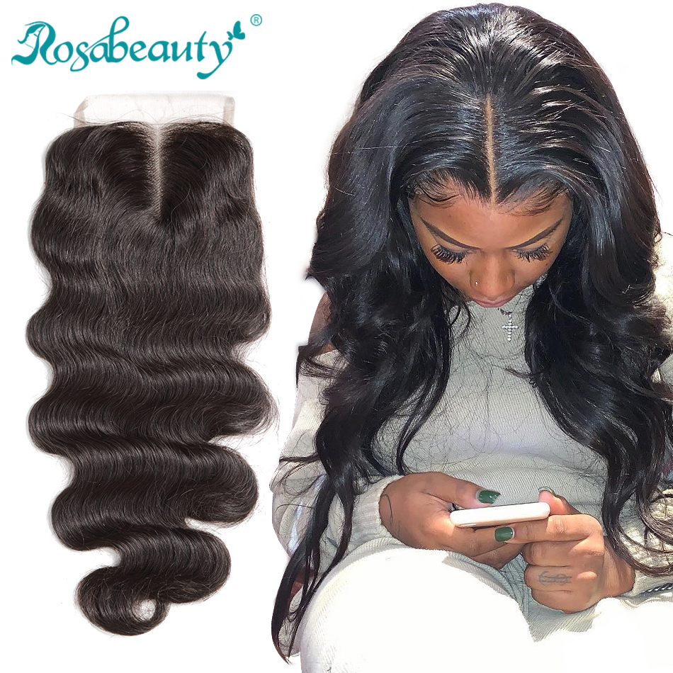 """Rosabeauty 8""""-20"""" Natural Color Body Wave Peruvian Human Virgin Hair Lace Closure Middle/Free/3 Part With Bleached Knots"""