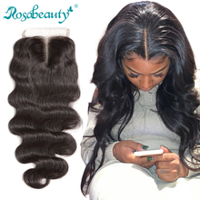 """Rosabeauty 8"""" 20"""" Natural Color Body Wave Peruvian Human Virgin Hair Lace Closure Middle/Free/3 Part With Bleached Knots"""