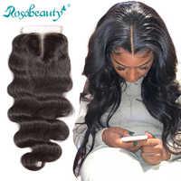 """Rosabeauty 8 """"-20"""" couleur naturelle vague de corps péruvien humain vierge cheveux dentelle fermeture milieu/libre/3 partie avec noeuds blanchis"""