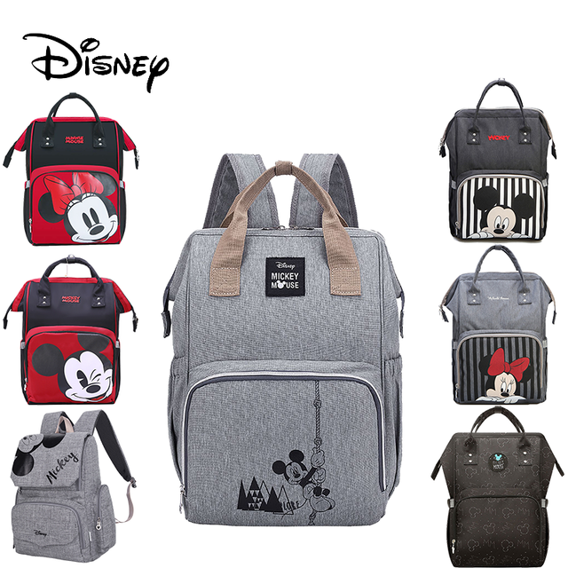 Disneyกระเป๋าเป้สะพายหลังผ้าอ้อมเด็กกระเป๋าสำหรับแฟชั่นMummy Maternityผ้าอ้อมMickey Minnieรถเข็นเด็กกระเป๋าเปียกสำหรับรถเข็นPram