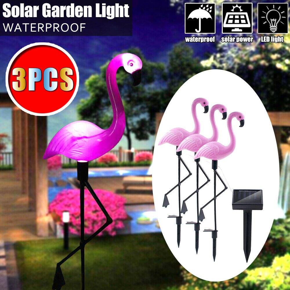 3 個ソーラーフラミンゴ芝生ソーラーパネル LED ガーデンパス景観ライト夜ランプ防水