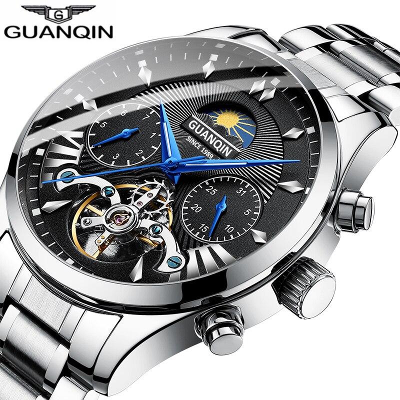 GUANQIN New Clock Men Mechanical Men's Wristwatch Clock Waterproof Stainless Steel Tourbillon  Sports Watch Relogios Masculino