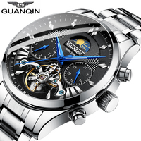 Guanqin novo relógio mecânico masculino relógio de pulso à prova dwaterproof água aço inoxidável tourbillon sports watch relogios masculino|Relógios mecânicos| |  -