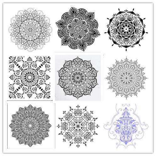 30 * 30cm 9 Types DIY Reusable Molds Laser Cut Painting Stencils Floor Tile Fabric Wall Mold Furniture Mandala Painting Stencils
