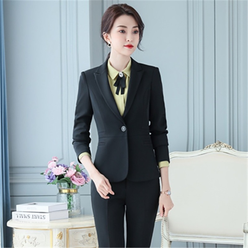 Female Professional Women's Suits Pants Two-piece Suit Autumn and Winter Slim Ladies Jacket Casual Pants Professional Wear Women