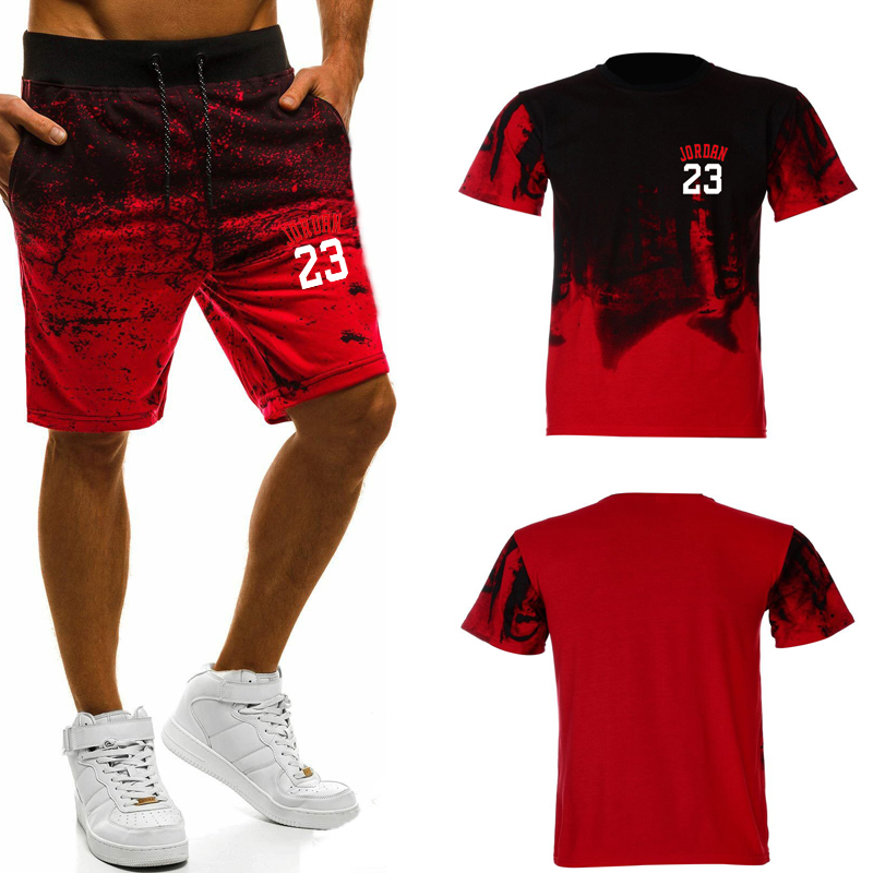 Casual Fashion Camouflage Sports 2019 Summer Letter Man's Jordan 23 T Shirts Print Set