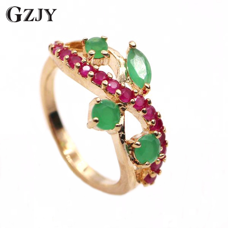 GZJY Exquisite Jewelry Red CZ&Green AAA Cubic Zirconia Crystal Gold Color Ring For Women 2 colors(China)