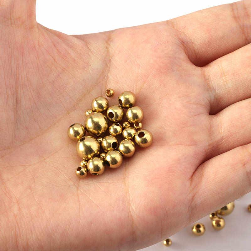 50 יח'\חבילה 3/4/5/6/8mm מקורי פליז Spacer חרוזים כדור Loose חרוזים קסמי צמידי שרשרת תכשיטי ביצוע רכיבים DIY