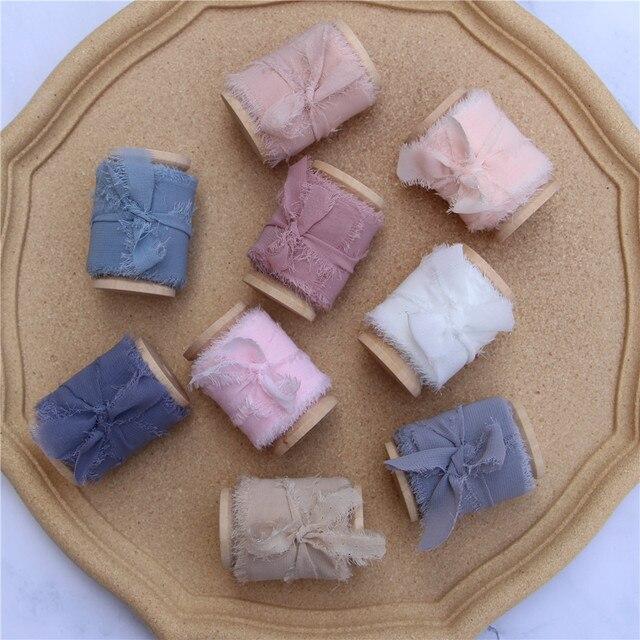 Cinta de seda de gasa con borde deshilachado hecha a mano, 3 uds., de madera con carrete, accesorio de Flatlay, cinta de flecos transparente para ramos de invitación de boda