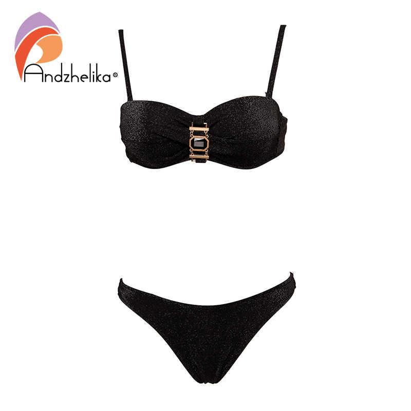 Andzhelika Sexy Bandeau Bikini Wanita Pakaian Renang Push Up Bikini Set Berlian Logam Baju Renang Pantai Brasil Baju Monokini