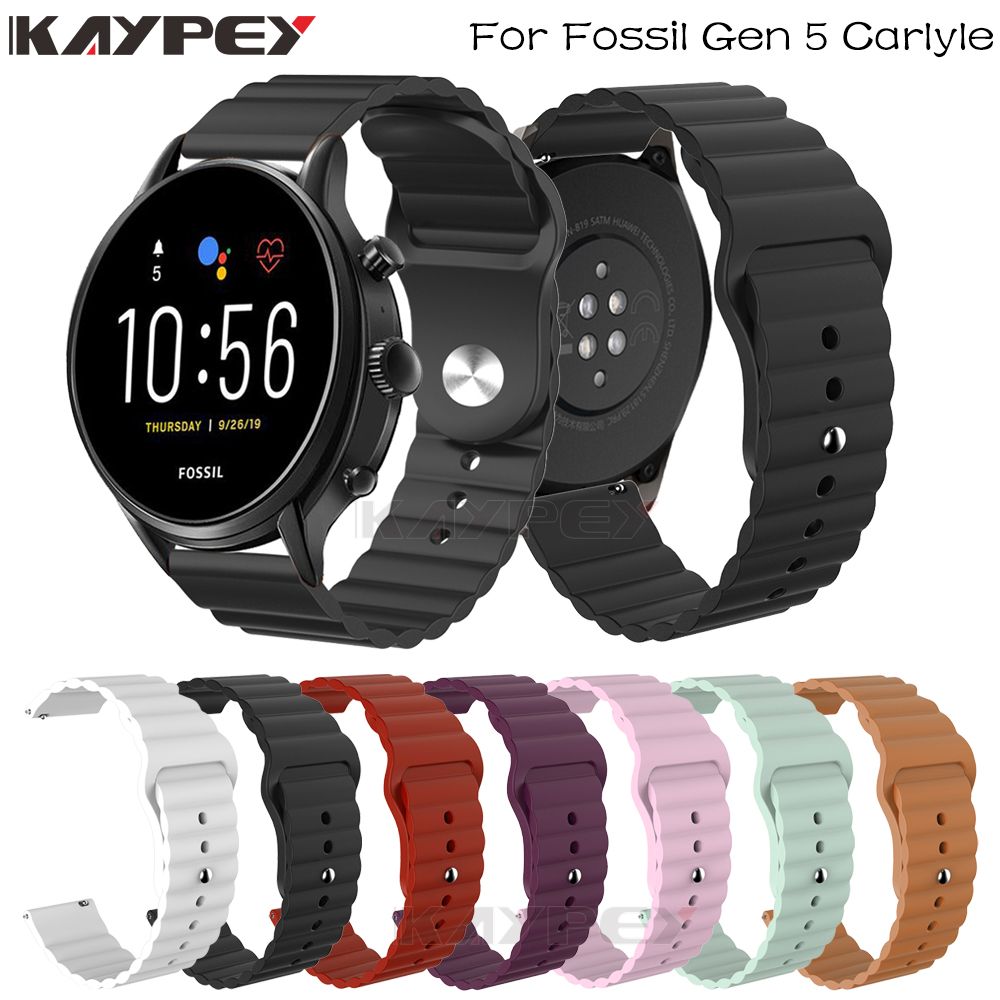 Sports Silicone Wrist Strap For Fossil Gen 5 Carlyle HR Julianna HR Band For Fossil Sport 43mm / Q Explorist HR Gen 4 Belt Bands