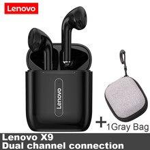 Lenovo x9 tws bluetooth 5.0 sem fio fone de ouvido inteligente toque tela da bateria ios inteligente redução ruído duplo canal fone ouvido